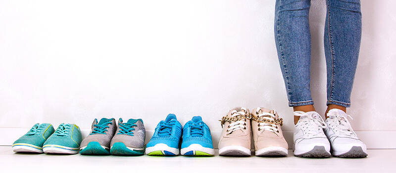 different shoes lined up